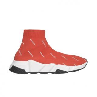 Balenciaga Burnt Orange Monogram Speed Sneakers