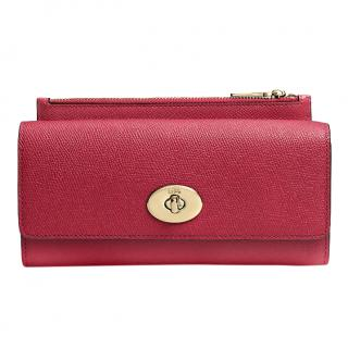 Coach Red Saffiano Leather Envelope Wallet
