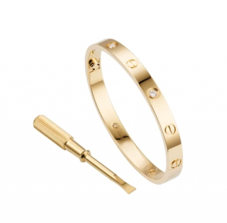 Cartier Yellow Gold Love Bracelet With 4 Diamonds