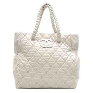 Chanel White Quilted Leather Tote Bag