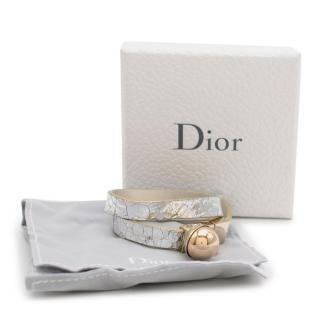 Dior Silver Foiled Leather Gold-Plated Faux Pearl Bracelet