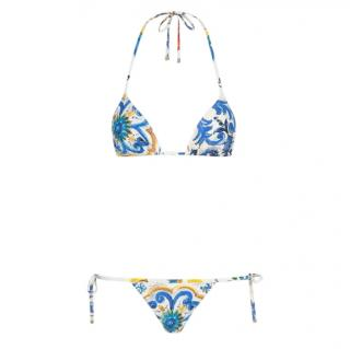 Dolce & Gabbana blue Sicily Majolica print bikini