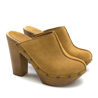 Penelope Chilvers Tan Suede Mules