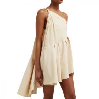 Jacquemus Affi one-shoulder striped cotton-blend mini dress