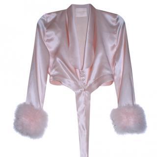 Maguy de Chadirac Feather Trim Cropped Pyjama Jacket