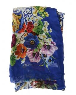 Dolce & Gabbana Blue Floral Sicily Print Scarf