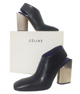 Celine Black Leather Sculptured Metal Slingback Heels
