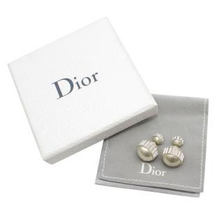 Dior Faux Pearl Baguette Crystal Earrings