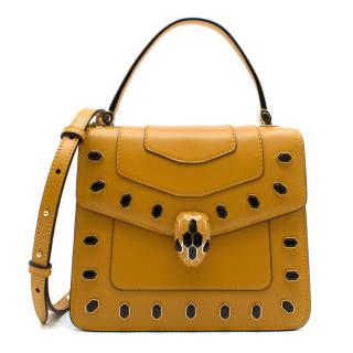 Bvlgari Ochre Serpenti Forever Leather Embellished Top Handle Bag