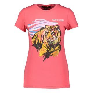 Roberto Cavalli Pink Tiger Print T-Shirt