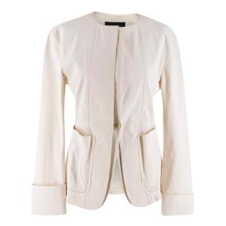 Isabel Marant Cream Cotton Blend Button Up Jacket