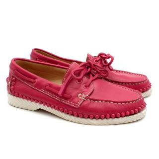 Christian Louboutin Steckel Pink Spiked Leather Loafers
