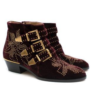 Chloe Burgundy Susanna Velvet Embelished Ankle Boots