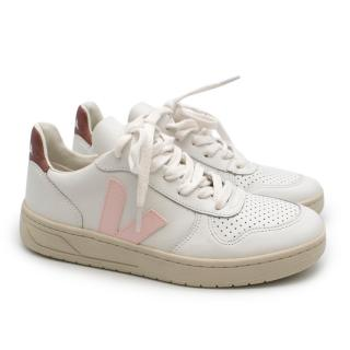 Veja White and Pink V-10 Trainers