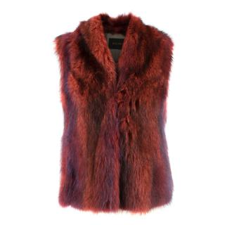 Hockley Red Real Fur Gilet Jacket