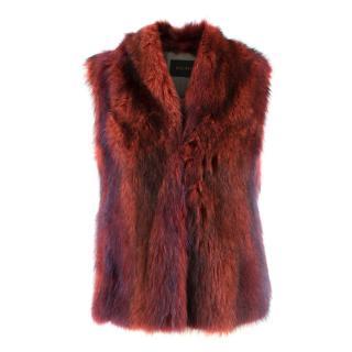 Hockley Red Real Fur Gilet Jacket
