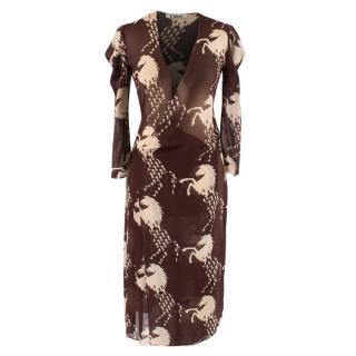 Chloe Brown Vintage Horse Print Wrap Dress