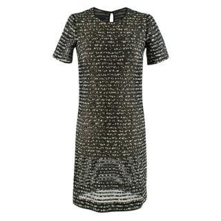 Burberry Prorsum Black/Forest Green Silk Blend Mini Dress