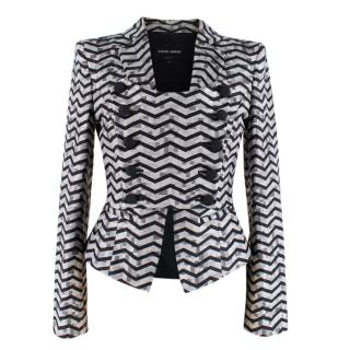 Giorgio Armani Grey Button-Up Chevron Print Blazer