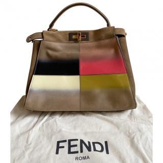Fendi Suede Striped Peekaboo Bag