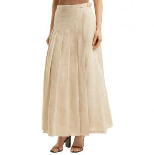 Max Mara Pleated Linen Evelin Skirt