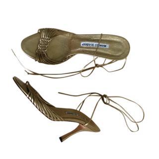 Manolo Blahnik Woven Leather Gold Sandals