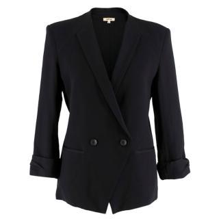 Helmut Lang Black Ruched Sleeve Button Blazer