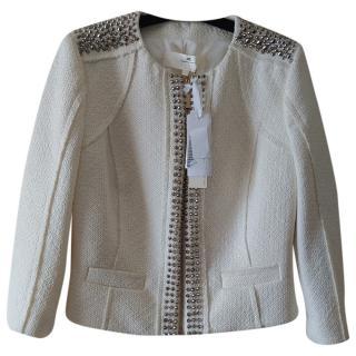Elisabetta Franchi Ecru Embellished Jacket