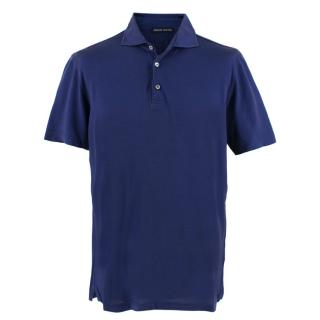 Donato Liguori Hand Tailored Blue Polo Top