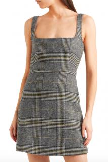 Alexa Chung Grey Checked Square Neck Dress