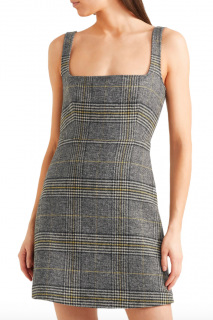 Alexa Chung Grey Checked Square Neck Dress