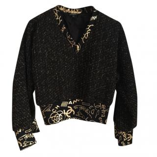 Chanel Tweed Logo Silk Trim Jumper