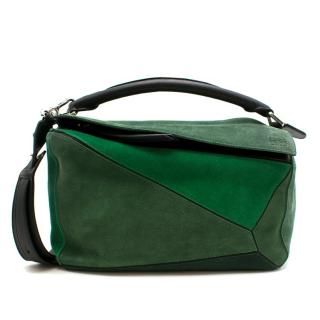 Loewe Small Green Suede Puzzle Bag