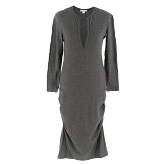 James Perse Grey V-Neck Cotton Blend Ruched Midi Dress