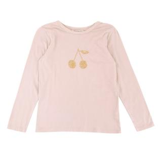 Bonpoint Pink Cotton Embellished Long-Sleeve Top