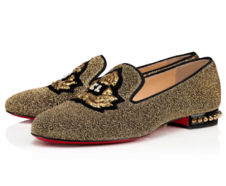 Christian Louboutin Black & Gold Lurex Tatiana Loafers