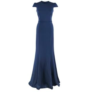 Safiyaa Navy Satin Crepe De Chine Gown