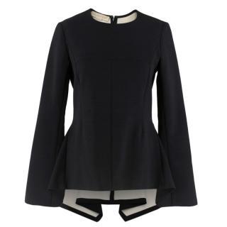 Stella McCartney Black Wool Blend Peplum Long Sleeve Top