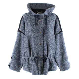 Chloe Blue & White Oversized Tweed Jacket