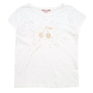 Bonpoint Kids White Gold Cherry Print Tshirt