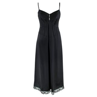 Marc Jacobs Black Silk Slip Dress with Lace Trim