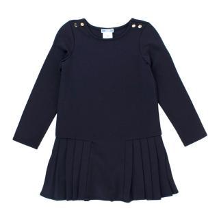 Jacadi Girls Navy Long Sleeve Pleated Dress