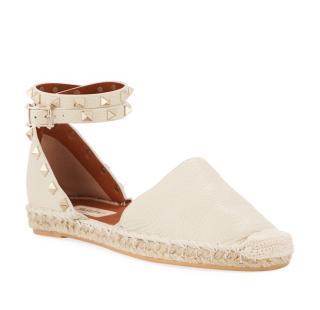 Valentino Garavani Ivory Rockstud Double Strap Espadrille Sandals