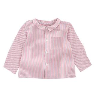 Bonpoint Girls Long Sleeve Red White & Blue Striped Shirt