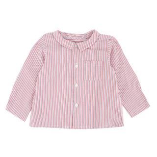 Bonpoint Girls Long Sleeve Red White & Blue Striped Shirt