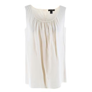 St John Cream Sleeveless Silk Blouse