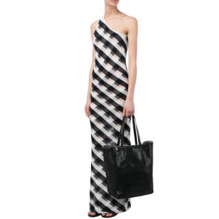 Stella Mccartney Checked Sheer One Shoulder Maxi Dress