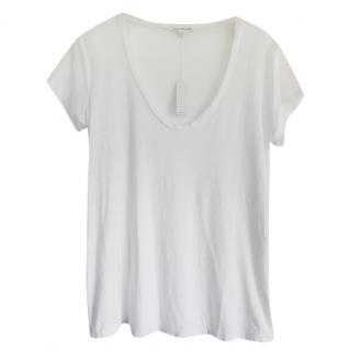 James Perse White Cotton Blend T-Shirt