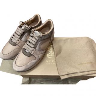Burberry Nude Suede, Leather & Canvas Field Trainers