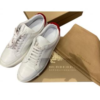 Burberry White Leather & Red Suede Low Top Sneakers